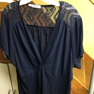 Maurice's navy blue twist front top